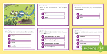 Year 3 AC Geography Settlement Quiz Cards  - ACHASSK069, prior knowledge, formative assessment, ,Australia