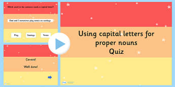 Using Capital Letters Proper Nouns SPaG Punctuation PowerPoint