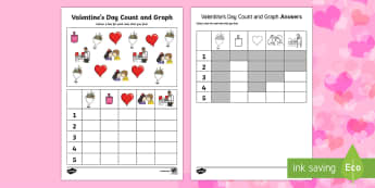 Valentine's Day Count and Graph Activity Sheet - Valentine's Day,  Feb 14th, love, cupid, hearts, valentine, bar chart ks1