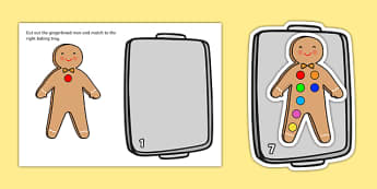 The Gingerbread Man Number and Quantity Matching Cards - matching