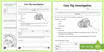 Coin Toss Investigation Activity Sheet - Australian Curriculum Statistics and Probability, ACMSP094, chance, coin toss, coin flip, coin inves
