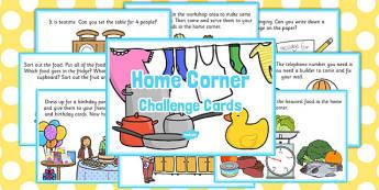 Home Corner Challenge Cards - challenge, cards, home corner, home
