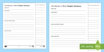 The Woman in Black Chapter Summary Activity Sheet  - The Woman in Black, summary, chapter, revision notes.