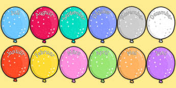 Editable Month Balloons German