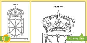 Hoja de colorear: El escudo de Navarra - Mapas, provinicias, mapas mudos, mapas en blanco, las ciudades de españa, comarcas, concejos, comun