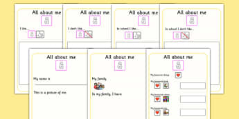 All About Me Book - ourselves, SEN, booklet, writing template