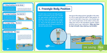 Teaching Freestyle Swimming Information Cards - Aquatics, Swimming, Physical Education, Freestyle, Overarm