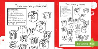 Ficha: ¡Tira, suma y colorea! - Los regalos de Navidad - tira, suma, colorea, Navidad, navideño, navideña, navidad, navidades, colorear, colores, color, la
