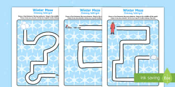Winter Pencil Control Path Activity Sheets English/Polish - Winter Pencil Control Path Activity Sheets - winter, pencil control, pencil control worksheets, fine