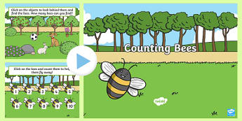 1-10 Find the Bees and Counting Interactive PowerPoint KS2 - powerpoint, power point, interactive, powerpoint presentation, counting, bees, find the bees, observation, obervation game, object hunt game, activity, fun, presentation, slide show, slides