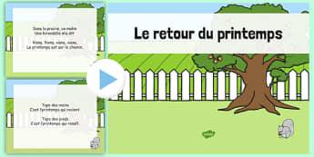 Le retour du printemps PowerPoint French - french, le retour du printemps, the return of the spring, spring, song, powerpoint
