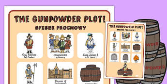 The Gunpowder Plot Vocabulary Poster Polish Translation - polish