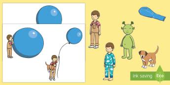 Display Cut-Outs - EYFS The Blue Balloon, Mick Inkpen, Kipper