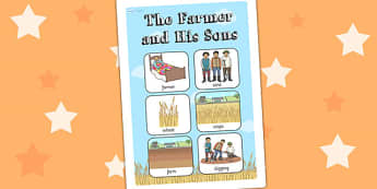 The Farmer and His Sons Vocabulary Poster - vocab display, story