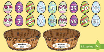 Cartes à trier - Nombres pairs et impairs : Les oeufs de Pâques - nombres pairs, nombres impairs, numération, mathématique, cycle 2, pâques, easter,French