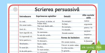 Scrierea persuasivă - Planșă  - română, scriere, scriere persuasivă, redactare, scriere funcțională, scriere functionala, fișe