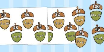 Multiplication Acorn Matching Activity - multiplication, matching