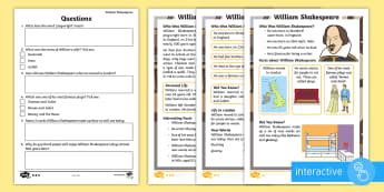 KS1 William Shakespeare Differentiated Comprehension Go Respond Activity Sheets - KS1, year 1, year 2, yr 1, yr 2, reading comprehension, differentiated reading comprehension, readin