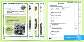KS1 VE Day Differentiated Comprehension Go Respond Activity Sheets - world war two, war, veterans, europe, 1945, reading, non-fiction, history