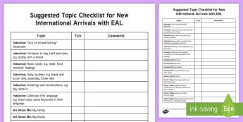 Suggested Topics for New International Arrivals with EAL Checklist - EAL, NIA, English as an Additional Language, new international arrival, EAL checklist, new starter,
