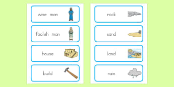 The Wise Man and The Foolish Man Word Cards - usa, america, the wise man, the foolish man, wise, foolish, sand, rock, word card, flashcards, cards, rain, houses, building, house, bible story, bible