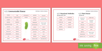 AQA Biology 4.3 Infection and Response Word Mat - Word Mat, biology, gcse, aqa, infection, disease, response, immune, immunity, infection, communicabl