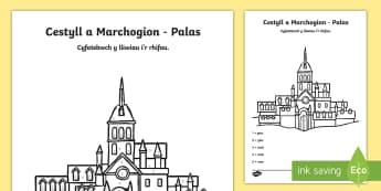 Lliwio gyda Rhifau Cestyll a Marchogion - castell, cestyll, marchogion, lliwio, rhifau, rhifedd, ,Welsh