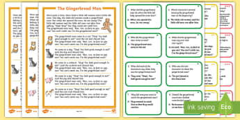 The Gingerbread Man Differentiated Story and Comprehension Question Cards - EYLF, Literacy resources, oral language, comprehension, question and answer, inference, early years,