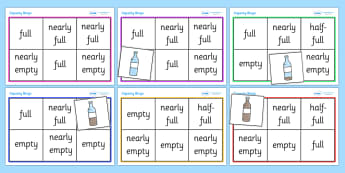 Capacity Bingo - capacity bingo, capacity, capacities, empty, full, nearly full, half full, nearly empty, measurement, game, activity, fun, bingo