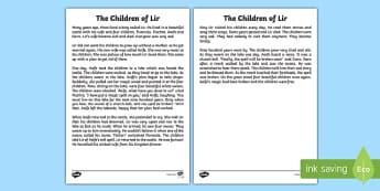 The Children of Lir Printable Story Sheet - Irish history, Irish story, Irish myth, Irish legends, The Children Of Lir, printable story, story sheet