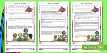Back to School CfE First Level Differentiated Reading Comprehension Activity-Scottish - new class, transition, starting school, new term, change, resilience,Scottish