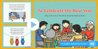 To Celebrate the New Year Song PowerPoint - EYFS, Early Years, Key Stage 1, KS1, Chinese New Year, festivals, Spring Festival, dragon dance, red