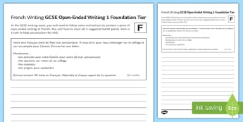 GCSE French Open Ended Writing 1 Foundation Tier Activity Sheet-French, worksheet