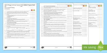 AQA Trilogy Unit 4.5 Homeostasis and Response Student Progress Sheet - Student Progress Sheets, AQA, RAG sheet, Unit 4.5 Homeostasis and Response, progress, checklist
