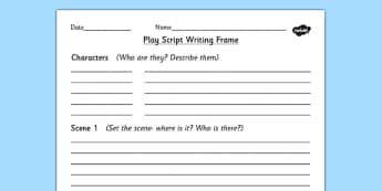 Play Script Writing Frame - play, role play, writing aid, scripts