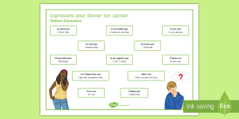 Opinion Phrases Word Mat - KS3, KS4, French, Opinions, cards,word, mat, avis,French