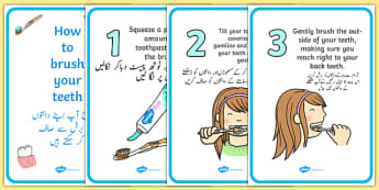 How To Brush Your Teeth Posters Urdu Translation - urdu, Dentists/Dental Surgery Role Play Pack, teeth, brushing teeth, dentist, dental nurse, checkup, teeth, dental care, dental health, filling, extraction, health, role play, display, poster