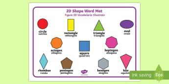 2D Shape Word Mat English/Italian - 2D Shape Word Mat, Word mat, writing aid, 2D Shape names, Shape Flashcards, Shape Pictures, Shape Wo