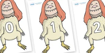 Numbers 0-100 on Wild Thing (2) to Support Teaching on Where the Wild Things Are - 0-100, foundation stage numeracy, Number recognition, Number flashcards, counting, number frieze, Display numbers, number posters
