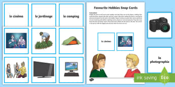 Favourite Hobbies Snap Card Game French - French Games, french snap, french hobbies, french free time, french activities.,Scottish-translation