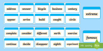 Year 3 and 4 Statutory Word with Outline Flashcards  - Year 3, Year 4, Statutory Words, Outline, Flashcards, spellings, spag, statutory spellings
