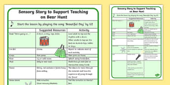 Sensory Story to Support Teaching on Bear Hunt  - were going on a bear hunt, were going on a bear hunt sensory guide, were going on a bear hunt lesson plan, sen