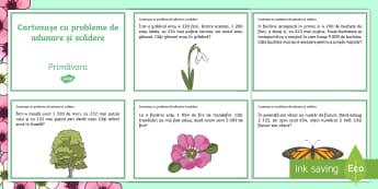 Adunări și scăderi de primăvară Cartonașe cu probleme - Primăvară, spring, cartonașe, probleme, matematică, rezolvare, exerciții, adunare, plus, scăde