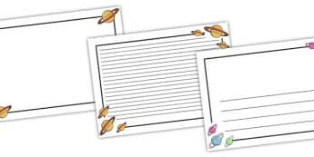 Space Page Borders (Landscape) - page border, border, frame, writing frame, writing template, space, out of space, space page borders, landscape page borders, writing aid, writing, A4 page, page edge, writing activities, lined page, lined pages