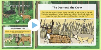 The Deer and the Crow Story PowerPoint - Hindu story, friendship story, jackal, deer, crow, net