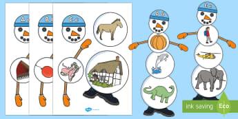 Alfabetar- Construiește un om de zăpadă - alfabet, alfabetar, română, jocuri, litere, literele alfabetului, litera, ,Romanian