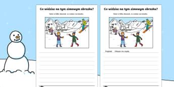 Karta Opisz zimowy obrazek - pisanie, zima, napisz, obrazek, zimowy, zabawy, zimowe, śnieg, sanki, bałwanek, bałwan, tekst, op