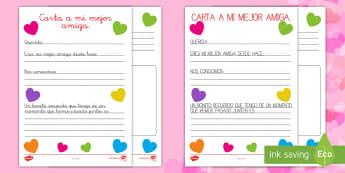 Carta a mi mejor amiga (de un amigo) Ficha de actividad - San Valentín, amigo, amiga, carta, amor,Spanish