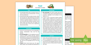 Food Fact Sheet for Adults - EYFS, Early Years, KS1, Understanding the World, Science, exploration, discovery, finding out, facts, information, food, healthy eating, fruit and vegetables, food groups.
