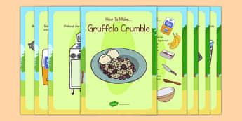 Gruffalo Crumble Recipe Cards - gruffalo, crumble, recipe, cards
